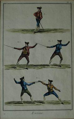 Gravure d'escrime en couleur aquarellee tirée du Diderot et d'Alembert de 1751 | eBay