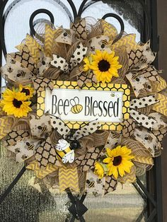 Burlap sunflower wreath for door, bumblebee bee blessed summer wreath, yellow, christian front door wreath Sunflower wreath bee wreath blessed bee blessed summer Wreath Crafts, Diy Wreath, Wreath Ideas, Wreath Burlap, Tulle Wreath, Wreath Making, Sunflower Wreaths, Floral Wreaths, Bee Crafts