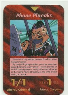 Phone Phreaks Illuminati CCG Unlimited Group Card 1995. Illuminati: New World Order (INWO) is a collectible card game (CCG) that was released in 1995[1] by Steve Jackson Games, based on their original boxed game Illuminati, which in turn was inspired by The Illuminatus! Trilogy. INWO won the Origins Award for Best Card Game in 1997.