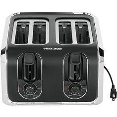 BLACK+DECKER TR1400SB 4-Slice Toaster, Black/Silver