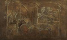Leonora Carrington (Mexican, born England, 1917-2011), Animales, c.1965. Oil on canvas, 61 x 100.6 cm.