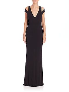 ABS Cutout Jersey Plunging V-Neck Gown