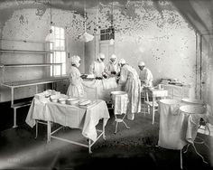 "March 16, 1915. ""Operating Room, Washington Asylum Hospital."" More sanitary, one hopes, than the moldy glass plate recording the scene."