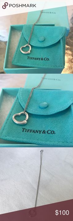 "Tiffany and Co open heart pendant The simple, evocative shape of Elsa Peretti Open Heart designs celebrates the spirit of love. This elegant style is one of her most celebrated icons. Sterling silver 11 mm wide On a 16"" chain Original designs copyrighted by Elsa Peretti In excellent shape, comes with original box and envelope. No scratches. 100% authentic. Tiffany & Co. Jewelry Necklaces"