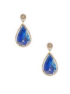 Lapis & Diamond Cutout Double Teardrop Earrings by Karma Jewels at Gilt