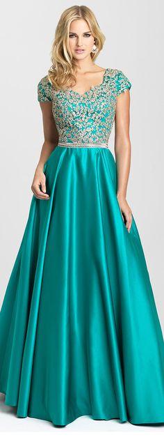 Graceful Satin V-neck Neckline A-line Prom Dresses With Beaded Lace Appliques https://bellanblue.com