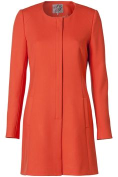 Mantel jas met ronde hals Donker Oranje