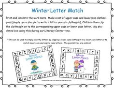 Capital and Lowercase letter matching winter theme