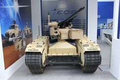 """""""THeMIS equipped with Electro Optic Systems' – (dual) RWS mounting 30 mm ATK LF cannon and a coaxial mm GPMG. Optional ATGW missile integration available Military Robot, Military Armor, Military Guns, Military Vehicles, United States Navy, Combat Robot, Drones, Lego War, Tank Design"""