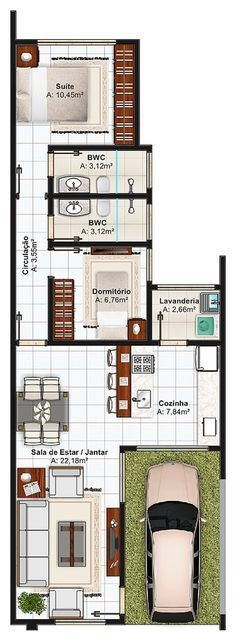 Planta de casa com 1 suíte, 1 quarto e garagem