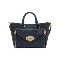 Mulberry - Small Willow Tote in Navy Classic Calf & Ostrich Mix