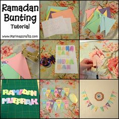 Day 7 - Ramadan Bunting Decorations We have just finished making the Bunting for this year - I have written an easy tutorial and also p. Eid Crafts, Ramadan Crafts, Ramadan Decorations, Craft Stick Crafts, Diy And Crafts, Crafts For Kids, Craft Ideas, Ramadan Activities, Activities For Kids