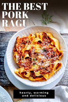 This Pork Ragu is the ultimate winter comfort food. It is hearty and warming, packed with flavor, and as it cooks in the oven, this is an easy meal that delivers big flavors. The pork is succulent, juicy, and fall-apart tender. While the rich tomato sauce is rich and flavorful. This is the kind of food you want to eat on a cold winter's night. Perfect served over pasta for a meal the whole family will love. With this recipe and my top tips, you'll be eating like an Italian.