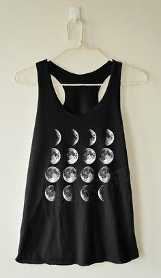 Moon phase shirt moon shirt moon night space funny tank summer shirt women shirt racer shirt racer women tank top women tunic women tshirt