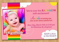 How To Make Birthday Invitations Online Free Rainbow First Baby