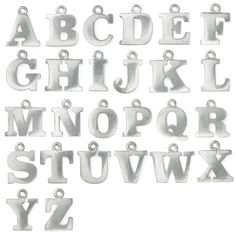 Pewter Letter Charms Size  AZ  Products Letter Charms And