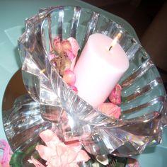 centrotavola cristallo con candela e fiori secchi