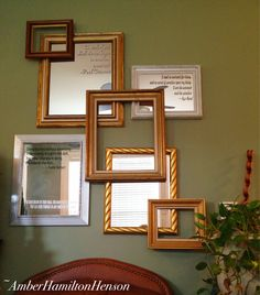 Have spare mirrors and frames? Use them to make a wall collage for greater impact than any small mirror or frame would offer on its own. :: Here, quotes made of vinyl lettering were added to the mirrors. ::