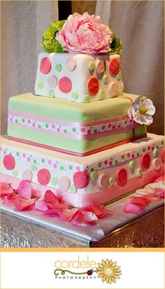 #PinkWeddingCake #UniqueWeddingCake #SquareWeddingCake #PinkWedding Square Wedding Cakes, Wedding Cake Photos, Unique Wedding Cakes, Polka Dot Cakes, Make Your Mark, Pink And Green, Square Shaped Wedding Cakes