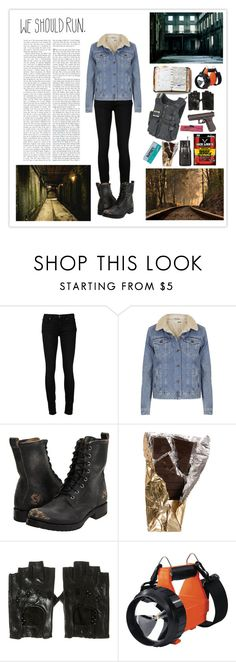 """""""Zombie Survival"""" by silly-stegosaurus ❤ liked on Polyvore featuring Paige Denim, Topshop, Frye, Chloé, Peek, Swat and Streamlight"""