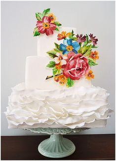 White painted cake by http://neviepiecakes.com