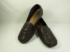 Womens shoes AEROLOGY Richochet dk brown leather comfy split toe loafers sz 10 M