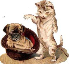 Oblaten Glanzbild scrap die cut chromo Katze cat Hund dog Hut hat Mops Biene bee