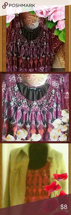 Apt.9 Sheer Blouse Donating 11/11/16 A sheer blouse with brown inside lining it has a multi colored design with Aztec like designs on it. The colors are a variety of purple, black, white, orange with bronze studs in front of the collar. Shoulder and waistband have elastic giving it a little bit more to the blouse. Apt. 9 Tops Blouses