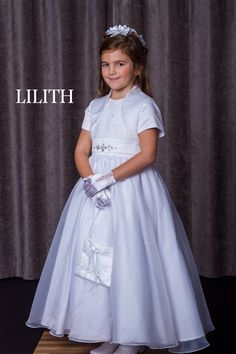 Celebrations First Communion Dress - Lilith - Satin and Organza Communion Dress with Jacket - Pretty First Holy Communion Dress for Girls- First Holy