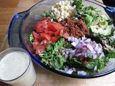 Vegan taco salad; raw.