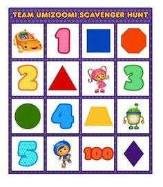Review shapes and numbers in this fun scavenger hunt featuring Team Umizoomi!