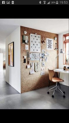 Cork board notice board wall, great idea for Hopes room