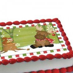 Woodland Christmas Personalized Edible Cake Decoration