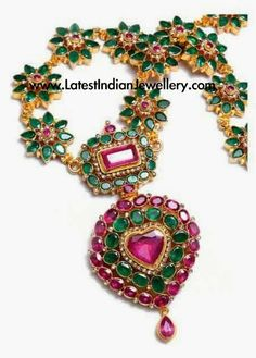 Emerald Necklace latest jewelry designs - Page 3 of 60 - Indian Jewellery Designs Ruby Jewelry, India Jewelry, Temple Jewellery, Wedding Jewelry, Gold Jewelry, Jewelery, Vintage Jewelry, Antique Jewellery, Diamond Jewellery