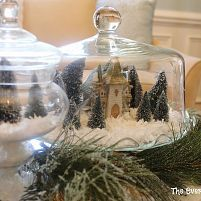 Cute idea for cloches, cake stands, and other glass domes