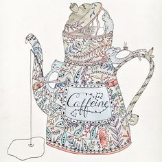 Adding color and caffeine to a gray day.  original illustration by @hikomarishop