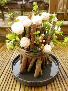 Rustic Woodland Arrangement With Bombastic Roses