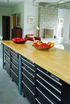 The charm of the farmhouse kitchen cabinet does not just happen when Fixer Upper debuted. They've been there for a long time - check out these beautiful Home Kitchen Ideas, farmhouse kitchen cabinets, farmhouse-style kitchens to get your kitchen inspired. Farmhouse Kitchen Cabinets, Painting Kitchen Cabinets, Kitchen Countertops, Tool Cabinets, Craftsman Kitchen, New Kitchen, Kitchen Dining, Kitchen Ideas, Medium Kitchen