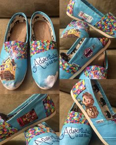 shoes - UP Toms Handpainted Custom UP Shoes Ellie & Carl Adventures is out there Disney Toms Disney Shoes Balloon Shoes Pixar Toms Disney Painted Shoes, Painted Canvas Shoes, Custom Painted Shoes, Hand Painted Shoes, Custom Vans Shoes, Shoe Makeover, Hand Painted Dress, Disney Toms, Sneaker Art