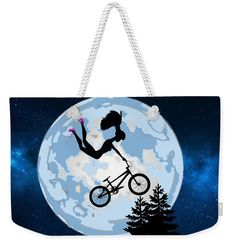 Girl Riding A BMX ET Style Weekender Tote Bag x by Kirsty Hotson. The tote bag includes cotton rope handle for easy carrying on your shoulder. My Bags, Tote Bags, Classic Image, Weekender Tote, Colour Images, Tag Art, Basic Colors, Beautiful Bags, Bmx