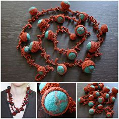Terracotta crocheted necklace with felt beads, intertwined with a chain.