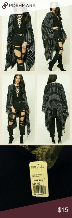 Stripe Draped Shawl OS black and grey Forever 21 Sweaters Shrugs & Ponchos