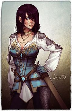 EriKa 2015 by Dreamerwhit95 female half-elf elf dual swords ranger fighter rogue thief assassin pirate armor clothes clothing fashion player character npc | Create your own roleplaying game material w/ RPG Bard: www.rpgbard.com | Writing inspiration for Dungeons and Dragons DND D