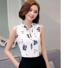 Blusas Femininas 2016 New Fashion Summer Chiffon Blouse Women Printed Sleeveless…