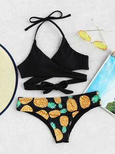 Black Pineapple Print Halter Wrap Mix & Match Bikini Set