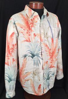 Tommy Bahama Hawaiian Shirt Relax Camp Casual 100% Linen Floral Leaf Men's Large #TommyBahama #Hawaiian