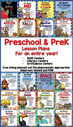 Preschool/PreK planning made EASY! This 20 lesson plan bundle will give you everything you need for Preschool Classroom Themes, Homeschool Preschool Curriculum, Preschool Schedule, Preschool Prep, Preschool Lesson Plans, Preschool Learning Activities, Classroom Posters, Preschool Themes By Month, Homeschooling