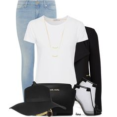 Black Blazer, Jeans & Hat by matulik77 on Polyvore featuring AG Adriano Goldschmied, Vero Moda, 7 For All Mankind, Casadei, MICHAEL Michael Kors, MARC BY MARC JACOBS, Gorjana, Napier and Topshop