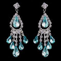 Aqua Rhinestone Earrings for Quinceanera, Mis Quince Anos Damas