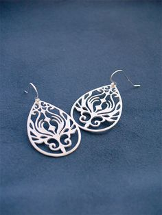 Peacock Earring in Silver  Filigree Drops on 925 by FiveThirty, $18.00